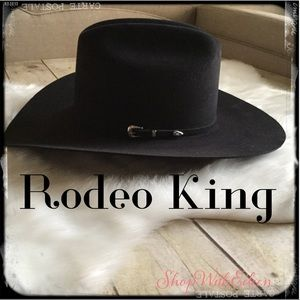 Rodeo King 10X Low Rodeo Black Suede Cowboy Hat